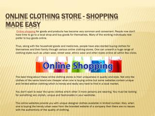 Online Clothing Store - Shopping Made Easy