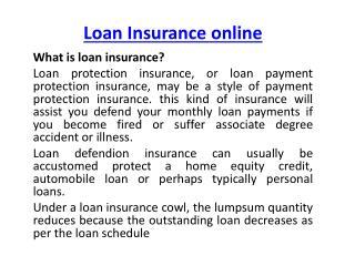 Loan Insurance Online