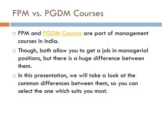 Difference between FPM and PGDM Courses in India