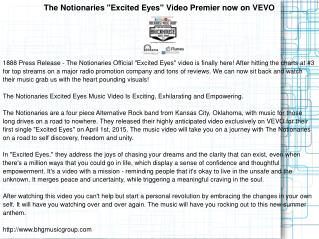 "The Notionaries ""Excited Eyes"" Video Premier now on VEVO"