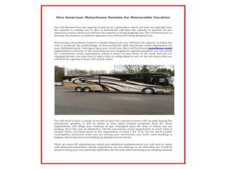 hire Winnebago and American motorhome rentals