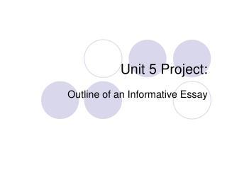 Unit 5 Project: