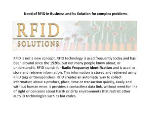 Need of RFID in Business and its Solution for complex proble