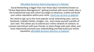 affordable business advertising agency in pakistan