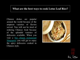 What are the best ways to cook Lotus Leaf Rice?