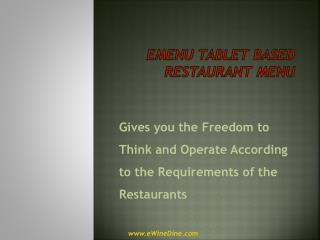Tablet eMenu App for Restaurant
