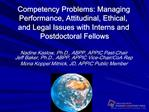 Competency Problems: Managing Performance