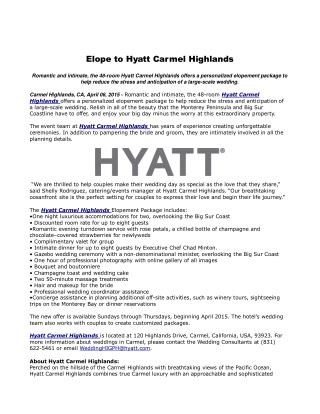 Elope to Hyatt Carmel Highlands