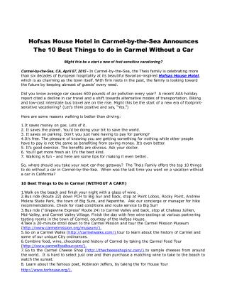 Hofsas House Hotel in Carmel-by-the-Sea Announces The 10 Bes