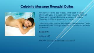 Celebrity Massage Therapist Dallas