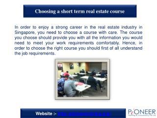 Choosing a short term real estate course