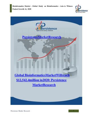 Bioinformatics Market - Global Report on Bioinformatics 2020