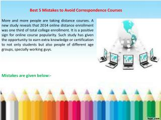 Best 5 Mistakes to Avoid Correspondence Courses