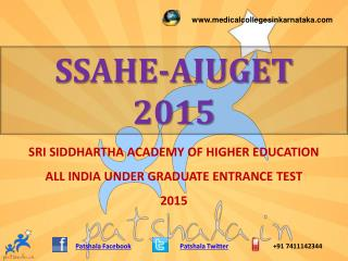 SSAHE AIUGET 2015 MBBS Entrance Exam 2015