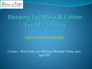 Sleeping Eye Mask & Cotton Eye Mask Sleep
