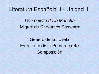 Literatura Espa ola II - Unidad III