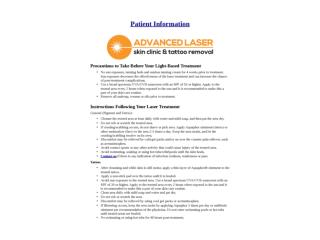 Patient Information – Advanced Laser Skin Clinic