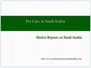 Pet Care in Saudi Arabia