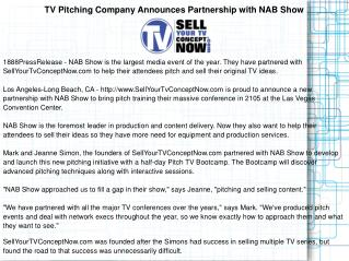TV Pitching Company Announces Partnership with NAB Show