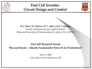 Fuel Cell Inverter:  Circuit Design and Control