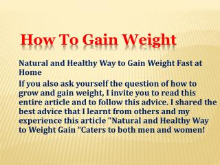 Natural and Healthy Way to Gain Weight Fast at Home