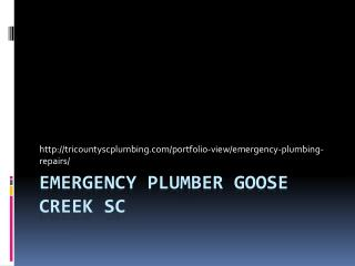 Emergency plumber Goose Creek SC