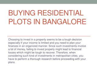Buying residential plots in Bangalore