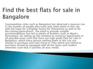 Find the best flats for sale in Bangalore
