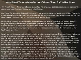 "AmeriQuest Transportation Services Takes a ""Road Trip"" in Ne"