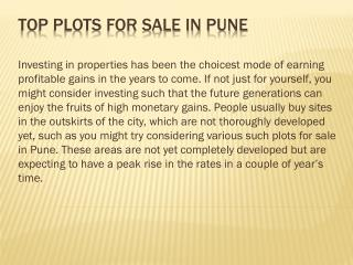 Top plots for sale in Pune