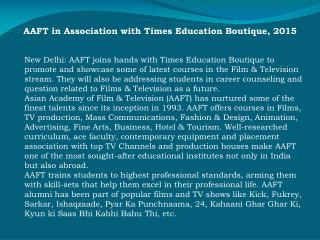 AAFT in Association with Times Education Boutique, 2015