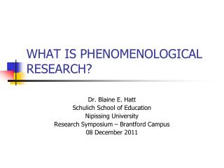 WHAT IS PHENOMENOLOGICAL RESEARCH