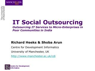 IT Social Outsourcing Outsourcing IT Services to Micro-Enterprises in Poor Communities in India