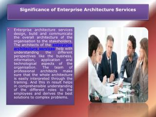 Significance of Enterprise Architecture Services