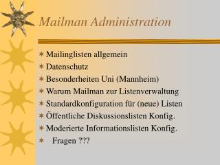 Mailman Administration