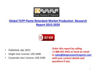 2015 TCPP Flame Retardant Market–Global Industy Development