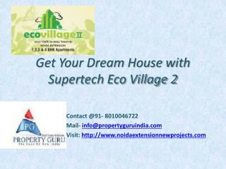 2 BHK Luxury Apartments in Supertech Eco Village 2 Noida Ext