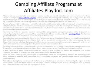 Gambling Affiliate Programs at Affiliates.Playdoit.com