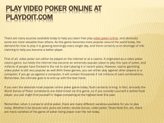 Play Video Poker Online at Playdoit.com
