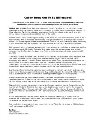 Cabby Turns Out To Be Billionaire!!