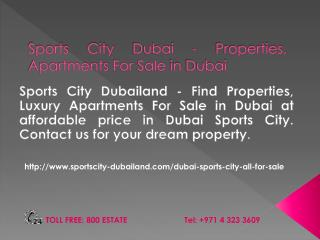 Sports City Dubailand Properties, Apartments For rent