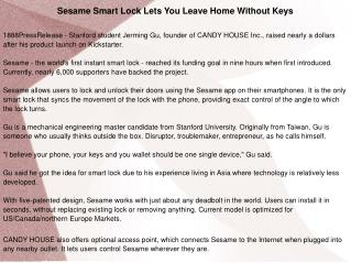 Sesame Smart Lock Lets You Leave Home Without Keys