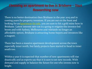 Choosing an apartment to live in Brisbane – Start Researchin