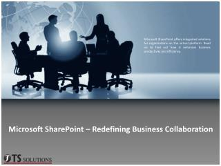 Microsoft SharePoint – Redefining Business Collaboration
