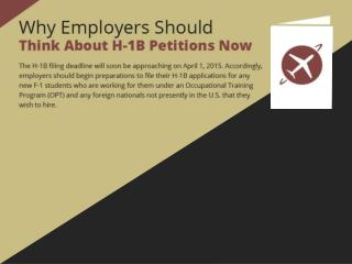 Why Employers Should think About H-1B Petitions Now