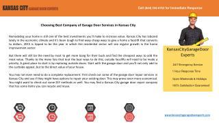 Choosing Best Company of Garage Door Services in Kansas City