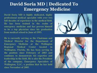 David Soria MD | Dedicated To Emergency Medicine