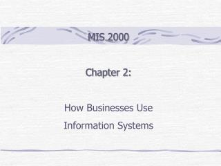 MIS 2000  Chapter 2:   How Businesses Use  Information Systems