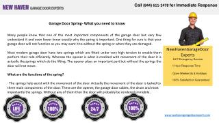 Garage Door Spring- What You Need to Know