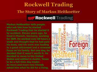 Rockwell Trading The Story of Markus Heitkoetter